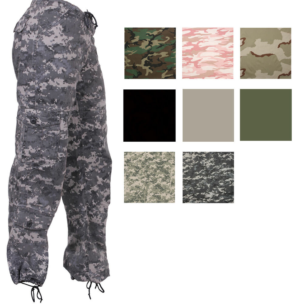 bf88d3a30fb64 Details about Women's Vintage Military Fatigues Camo Cargo Ladies Army Paratrooper  Pants