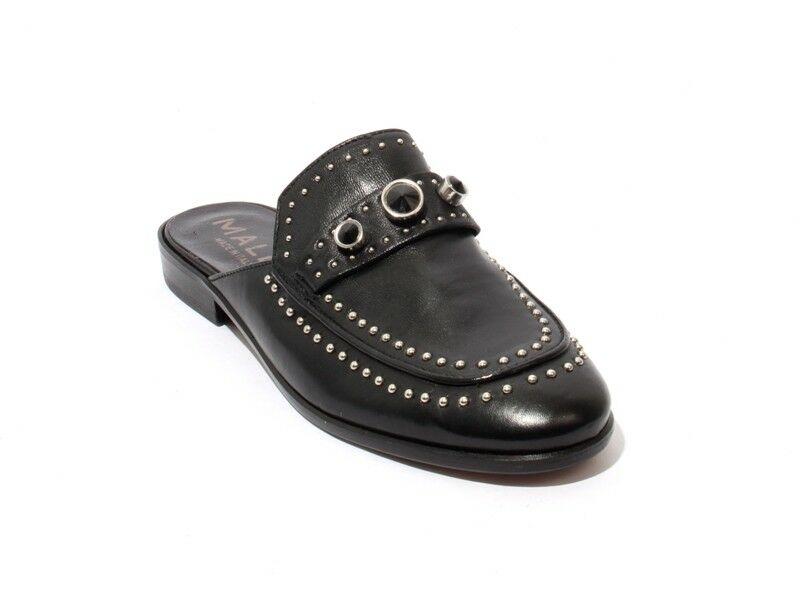d23aaee8da0 Details about Mally 6108 Black Leather Studded Sandals Flat Mules Shoes 37    US 7