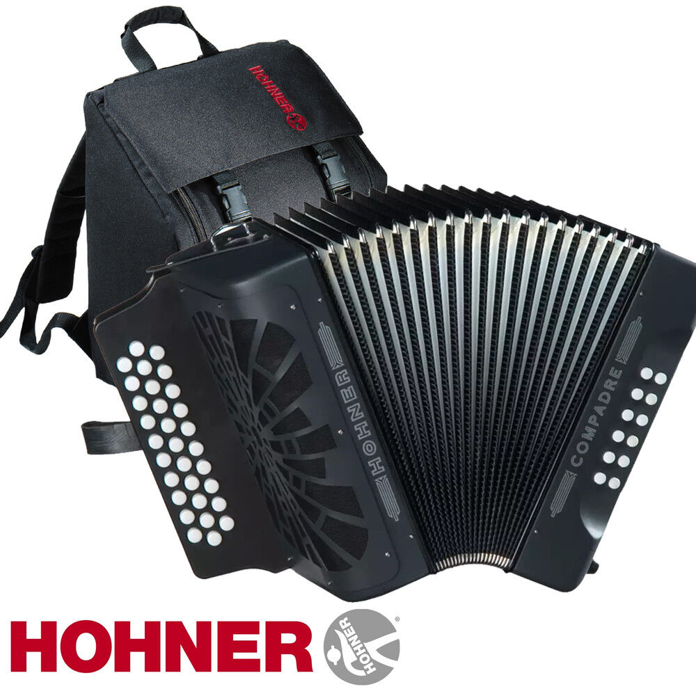 hohner compadre 31 button coeb ead diatonic accordion black gig bag straps ebay. Black Bedroom Furniture Sets. Home Design Ideas