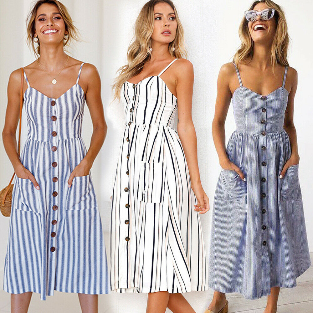 ef16d080dc58 Details about UK Womens Midi Swing Dress Strappy Strip Pocket Ladies Summer  Holiday Sundress