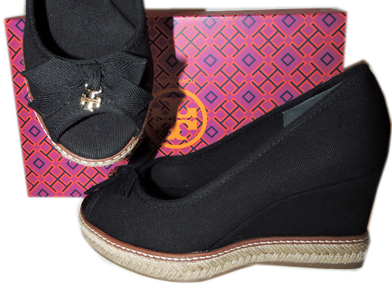 2e984bbc3c72 Details about Tory Burch Jackie 2 Peep Toe Wedge Black Espadrille Sandal  Canvas Charm Shoe 9.5