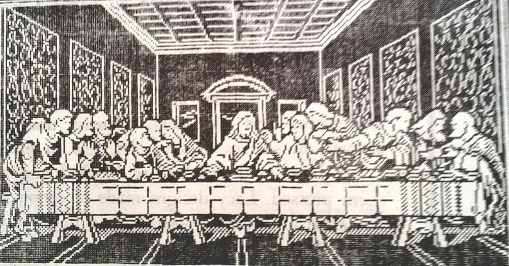7371 Vintage Filet Design The Last Supper Wall Panel Pattern To