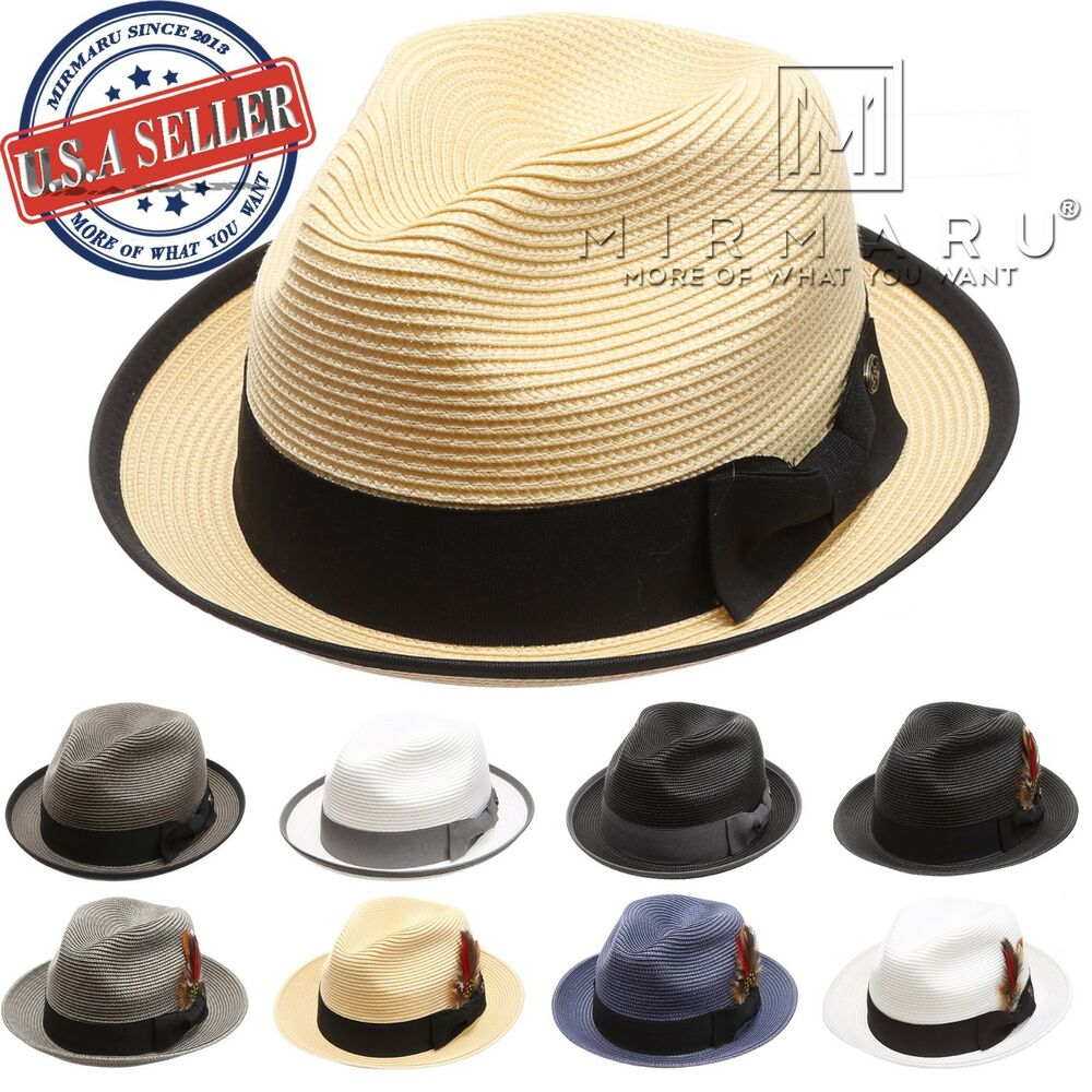 49f249b78ee Details about Men Women Lightweight Trilby Fedora Short Curled Brim Hat with  Removable Feather