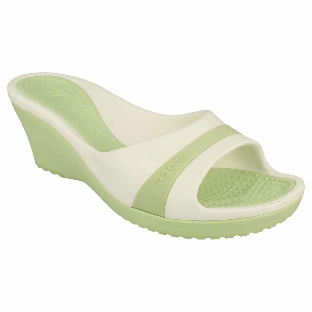 8038323fc CROCS LADIES SLIP ON OPEN TOE WEDGE HEEL SUMMER BEACH MULE SANDALS SASSARI