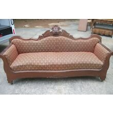 Entry Wall Couch, Antique Settee couch beautifully carved, upholstered seating