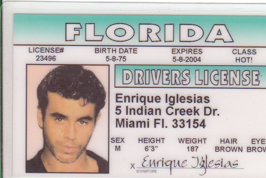 Enrique Florida Drivers Miami Card Ebay License Fl Iglesias Novelty Id