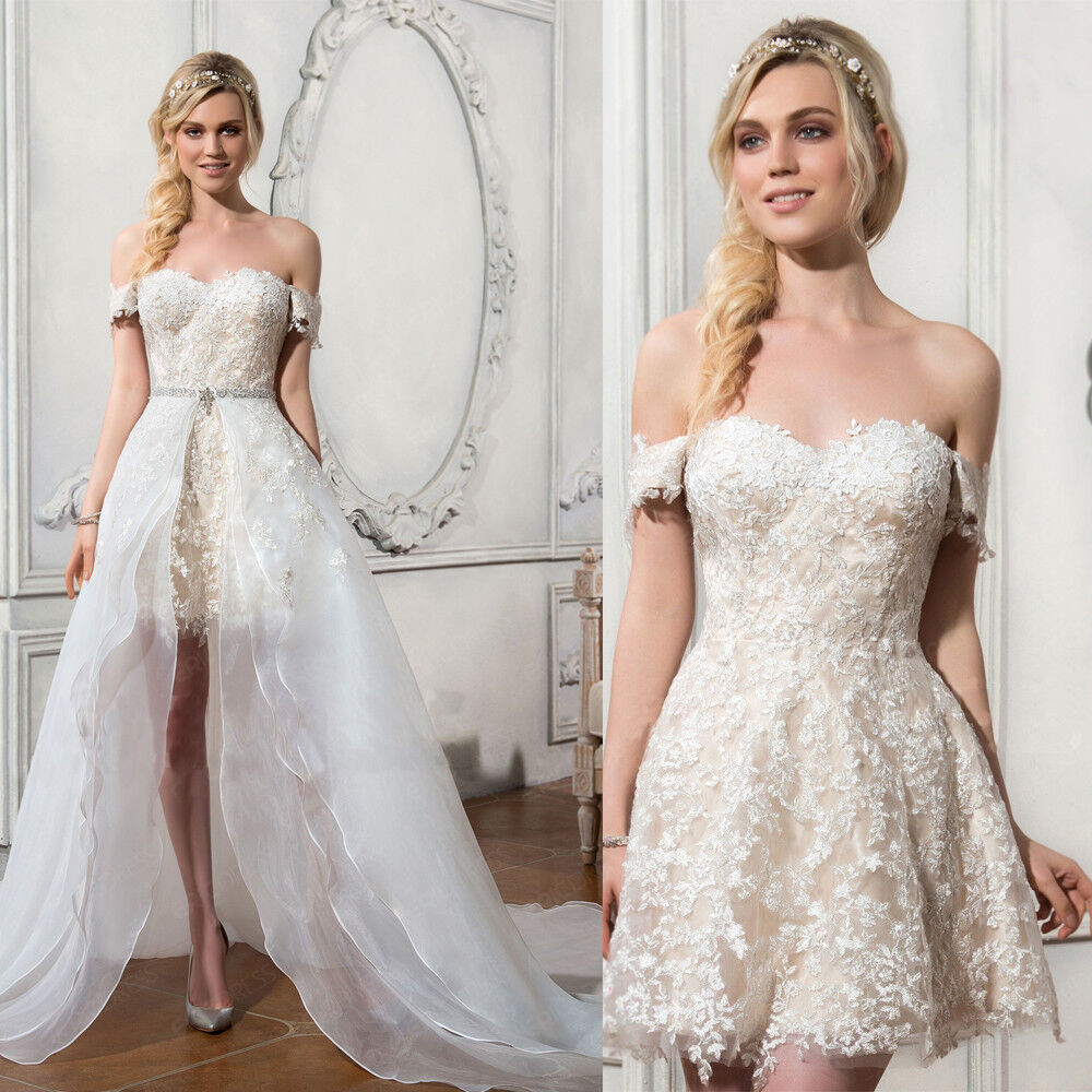 Bridal Dress With Detachable Train: Short Off Shoulder Lace Wedding Dresses Detachable Organza