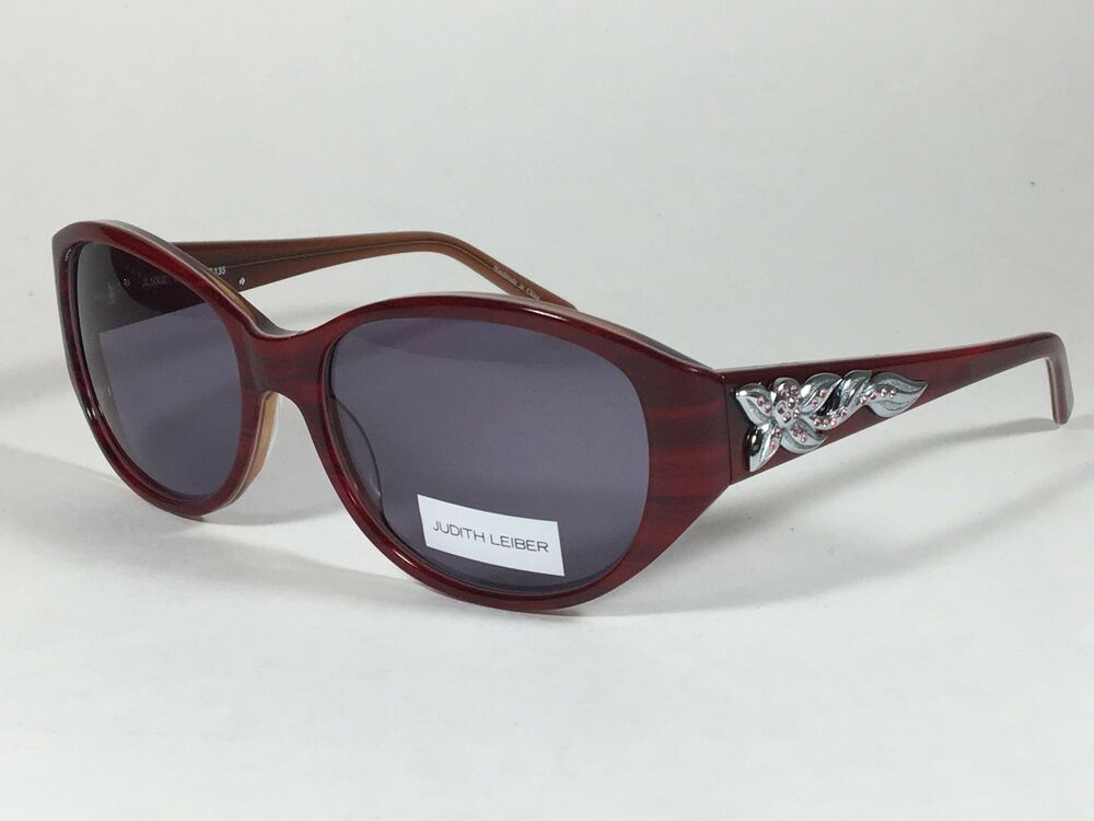 0eef4588d4 Details about New Authentic Judith Leiber Handmade Designer Sunglasses Ruby  Wood Gray Lens