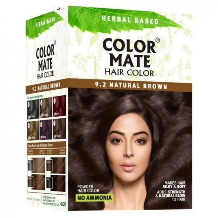 2x Color Mate Herbal Based Hair Colornatural Brown 92 No Ammonia