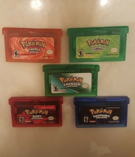 Pokémon GBA lot of 5 Ships fast! USA Gameboy Advance Reproduction SP