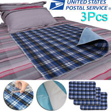 3pcs Washable Bed Pads Reusable Adult Incontinent Pad Waterproof Blue 45 * 60