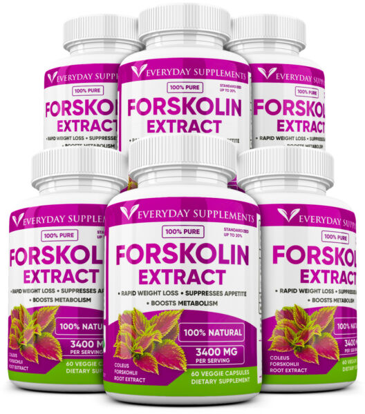 6 x Forskolin Maximum Strength 100% Pure 3400mg Rapid Results! Forskolin Extract