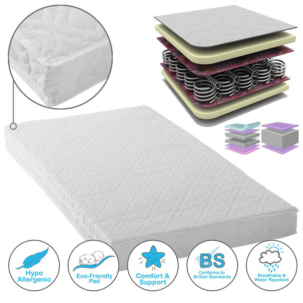 Baby Strong-Willed Baby Toddler Cot Bed Breathable Quilted Foam Mattress 140 X 70 X 13 Cm