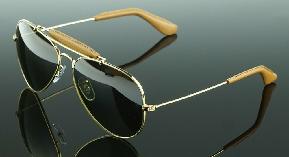 82318978180 Details about POLARIZED NEW Genuine RAY-BAN Aviator Leather Sunglasses RB  3422Q 001 M9 58 MM