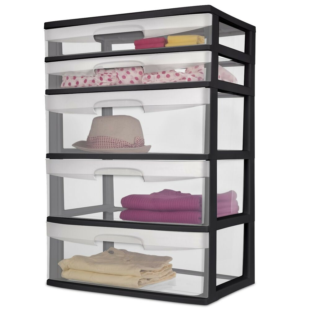 5 Drawer Wide Tower Storage Box Organizer Sterilite Heavy