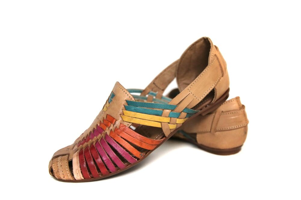 64007165fb8 Details about Women s HUARACHES SANDALS MULTI COLOR Flats CLOSED TOE  Mexican Sandals Vintage