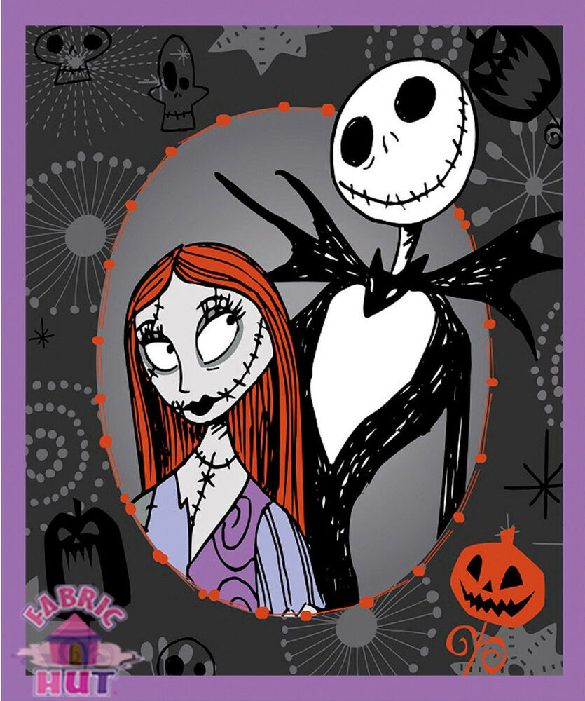 Nightmare Before Christmas Jack Skellington & Sally 100% Cotton ...