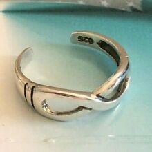 .925 ALL Sterling Silver Toe Ring Infinity w/Etched Band $7.49 All Sterling