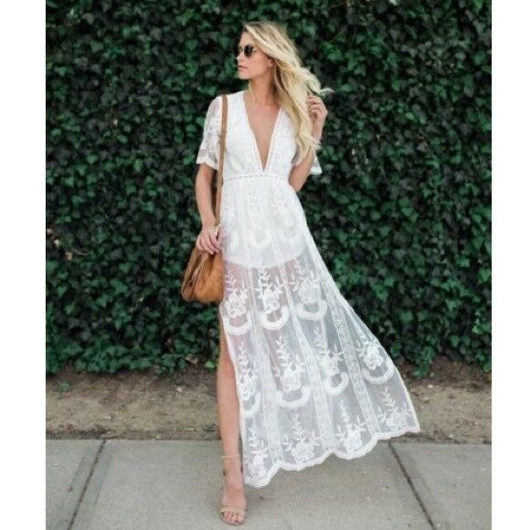 69239704bab Details about Honey Punch White Embroidered Lace Romper Maxi Dress. Style   ID5009C-WH
