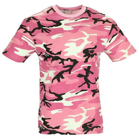 img-New Combat American US Camouflage Army Style Pink Orange Red Yellow Camo T-Shirt
