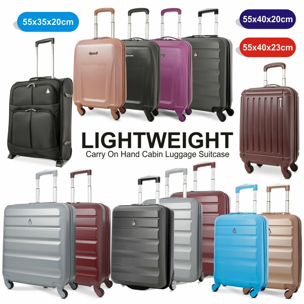 Lightweight Carry On Hand Cabin Luggage Suitcase 55x35x20