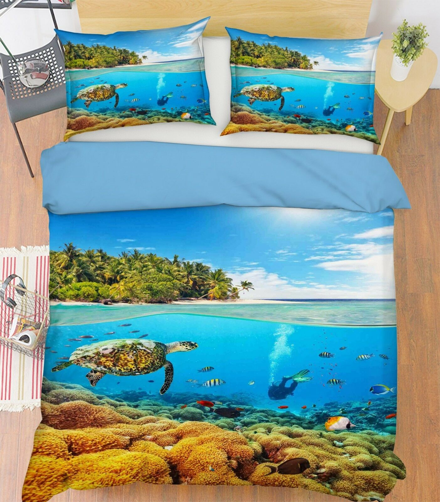 3d Tropischer Ozean Bett Kissenbezüge Steppen Duvet Decken Set Single  Königin De