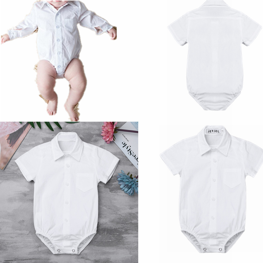 9e0d0ca0bfa19 Details about Toddler Boys Gentleman Shirt Romper Formal Bodysuit Wedding Birthday  Outfit Set
