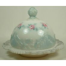 ANTIQUE COVERED BUTTER DISH WHITE OPAL GLASS BLUE TRIM PINK FLOWERS