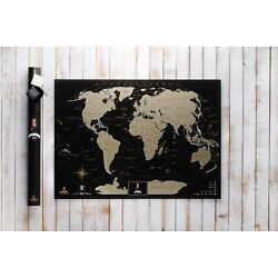 Kyпить  Deluxe Black Scratch off Map World Personal map Poster Travel  на еВаy.соm