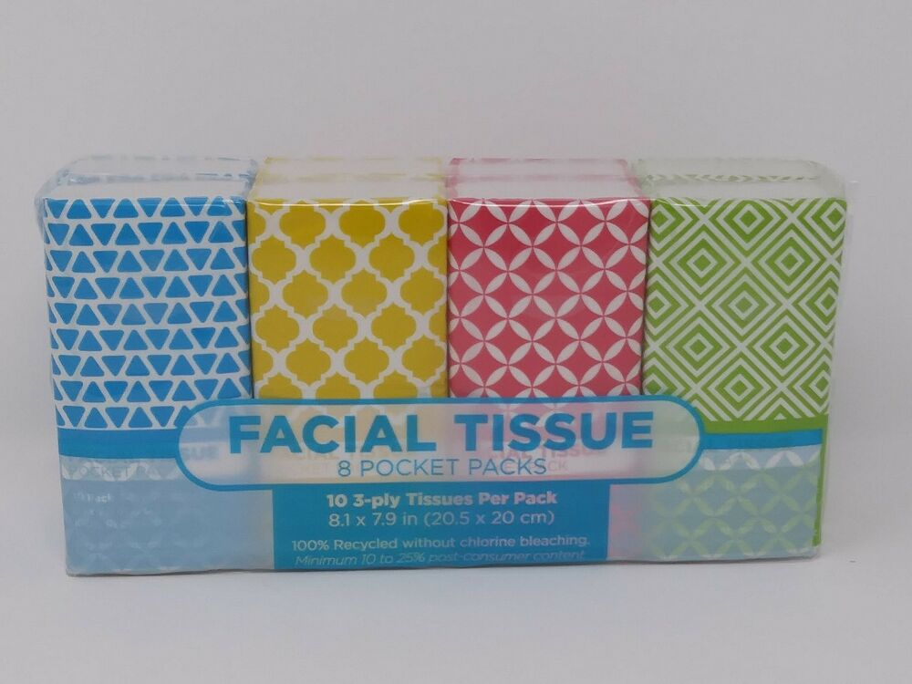 Details about Facial Tissue 8 Pocket Packs (10 3-ply Tissues Per Pack)  Travel Size