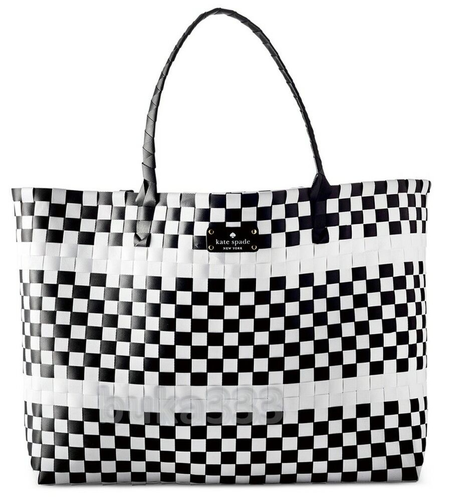KATE SPADE New York Black White Tote Multi-Color Weekender Beach ...