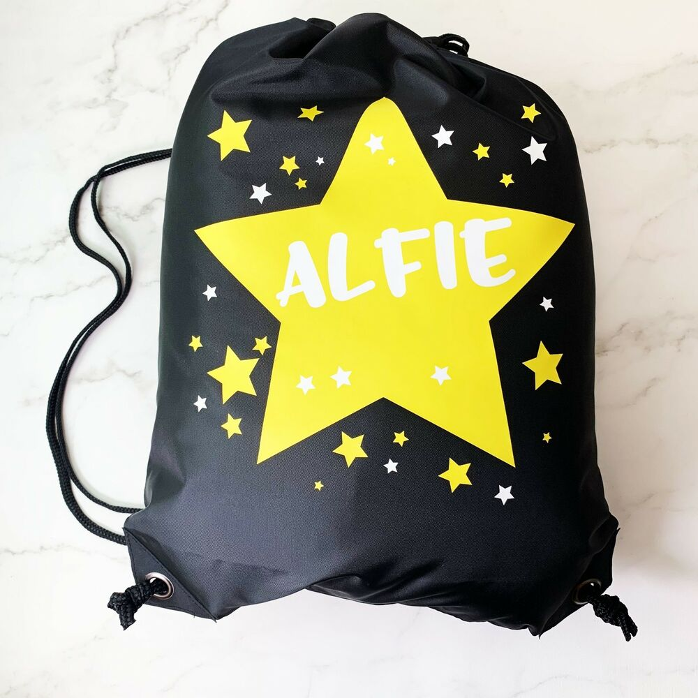 Details about Personalised Kids Yellow   White STARS BlackDrawstring  Swimming afbb767a5f9bf