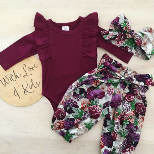 3PCS Newborn Baby Girls Tops Romper Floral Pants Headband Outfits Set Clothes