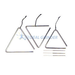 6, 7, & 8'' Chrome MUSIC PERCUSSION TRIANGLE SET w/ Strikers and Case -NEW!