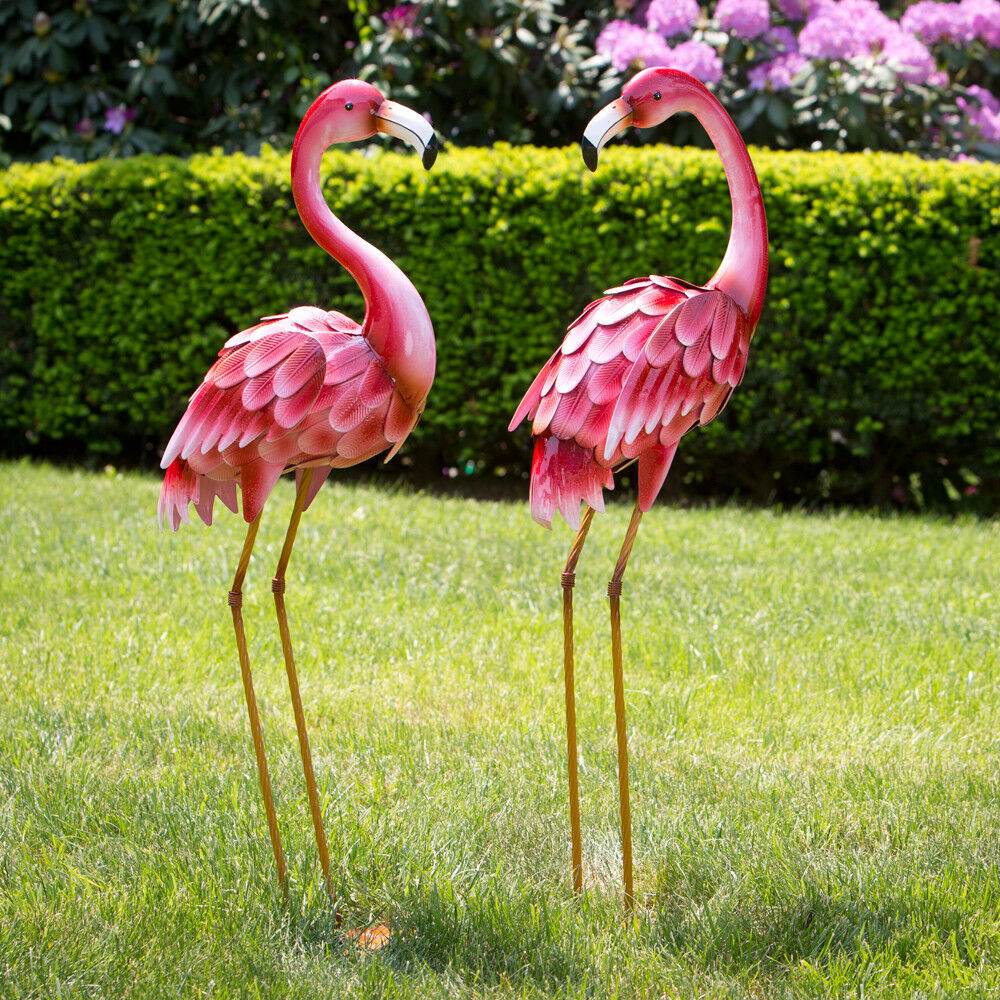 Yard And Garden Art: Pink Metal Flamingo Garden Statues Lawn Decor Yard And