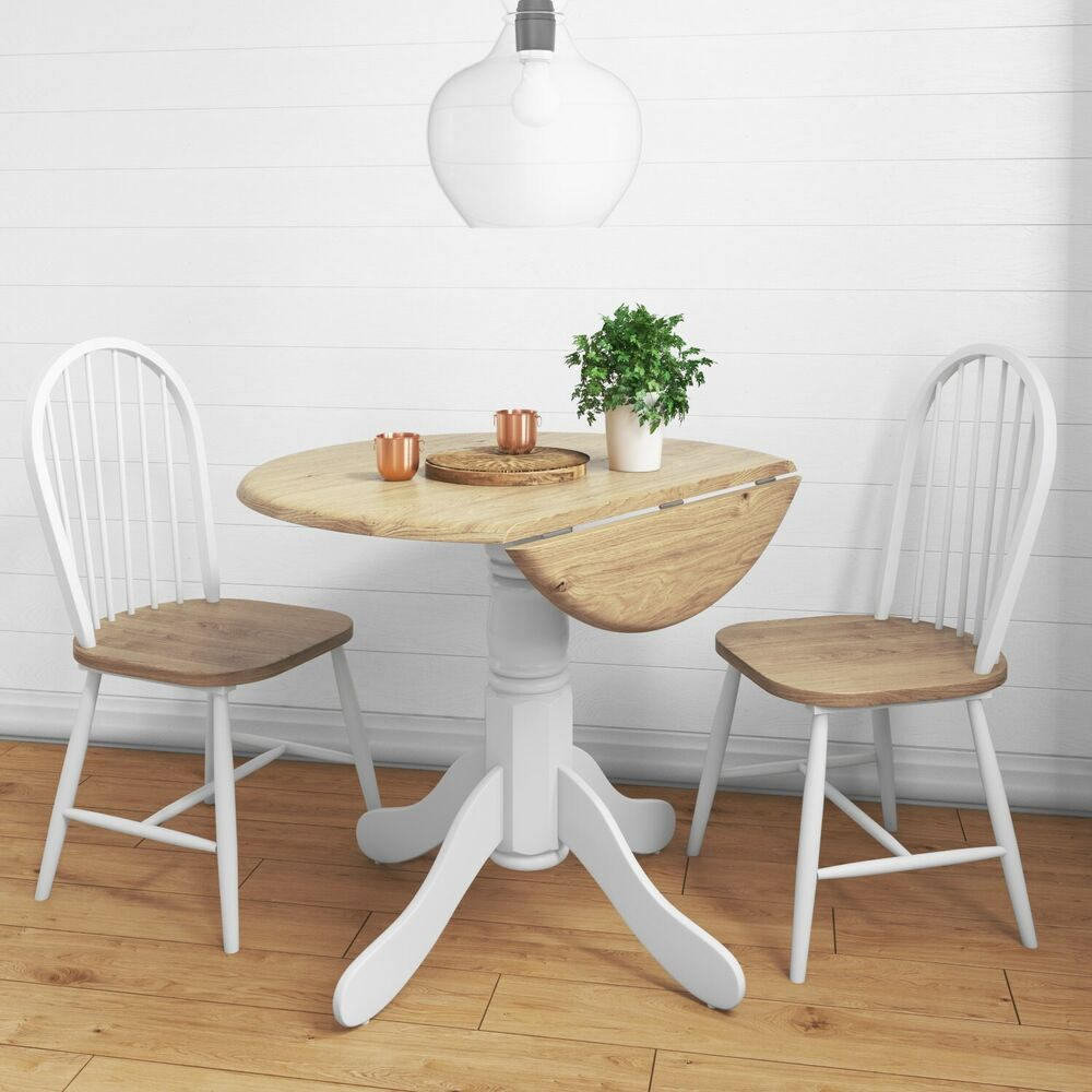 Kitchen Island Table With 4 Chairs: Rhode Island Round Drop Leaf Kitchen Dining Table + 2