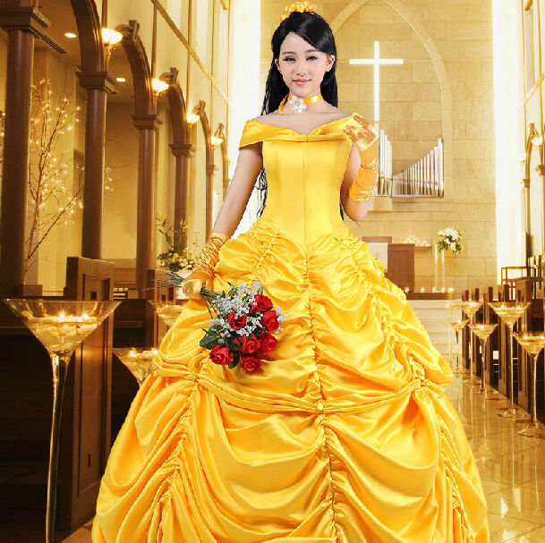 Adult Beauty and The Beast Princess Belle Cosplay Costume Ball Gown Fancy  Dress  1cd35d978