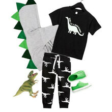 US Toddler Kid Baby Boy Short Sleeve Tops T-shirt Dinosaur Pants Outfit Clothes