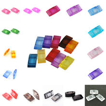 100 Colorful Acrylic Carrier Beads Plastic Duo Beads Delica Seed Two Hole 17x9mm