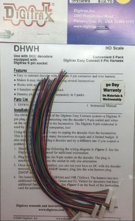 details about digitrax dhwh wire harness 5/pack - 9 pin jst plug to bare  wire - modelrrsupply