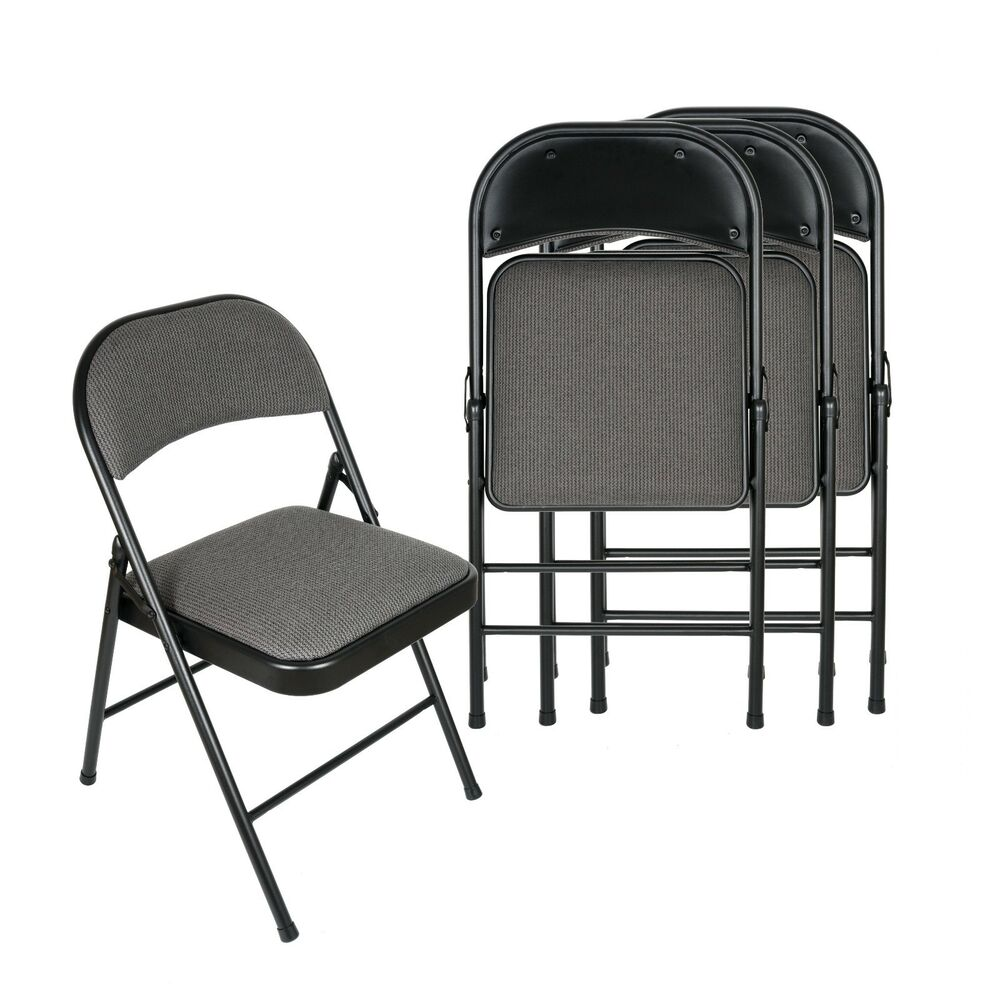 Details About APEX GARDEN Deluxe Fabric Padded Folding Chair (Set Of 4)    Black/Grey