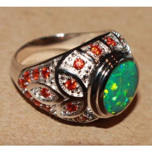 fire-opal-cz-ring-gemstone-silver-jewelry-65-75-cocktail-victorian-vtg-style-k