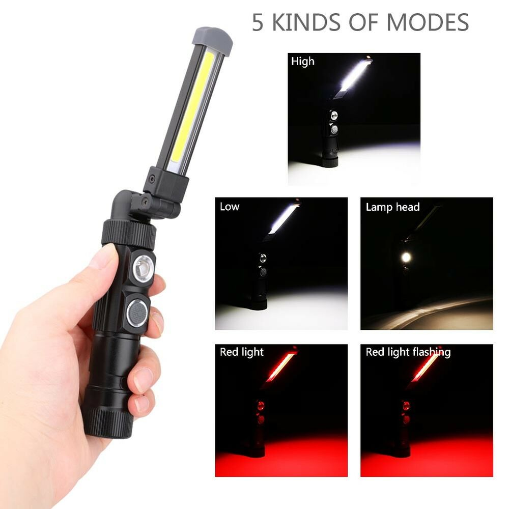 Led Work Light Magnet Lamp Torch Rechargeable Cordless: COB LED Rechargeable Work Light Magnetic Flashlight