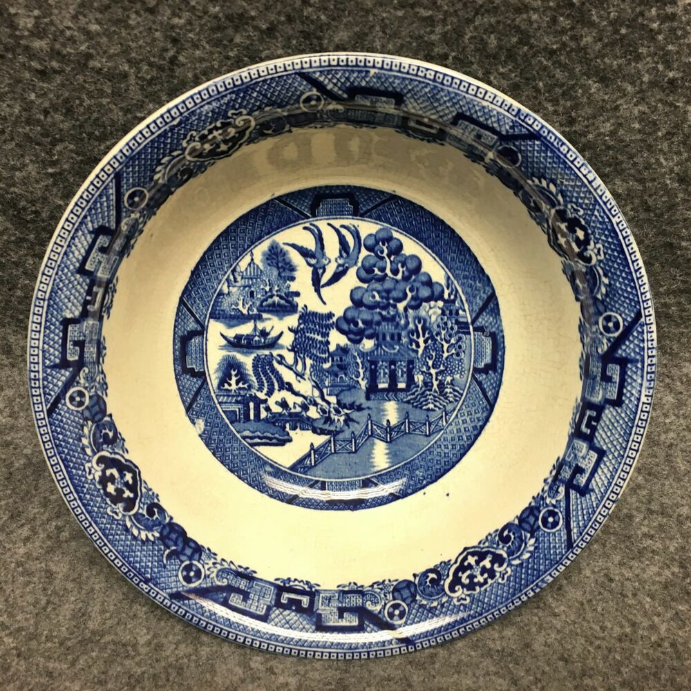 Details About Staffordshire England Ye Olde Willow Blue White 8 1 2 China Serving Bowl