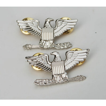 img-Pair WW2 WWII US Army Colonel Eagle War Bird Device Pin Badge Insignia -US215