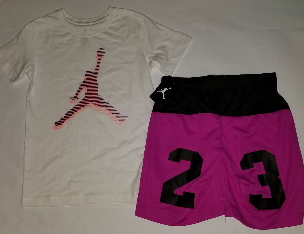 efa3e8aab55f Details about Nike Air Jordan Girls 2 PC Set Shirt Tee   Shorts Outfit Size  Small