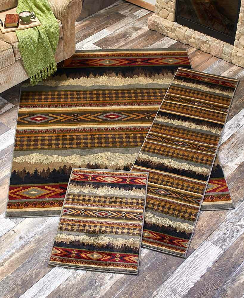 Lodge Cabin Rug Collection Accent Runner Area Rugs