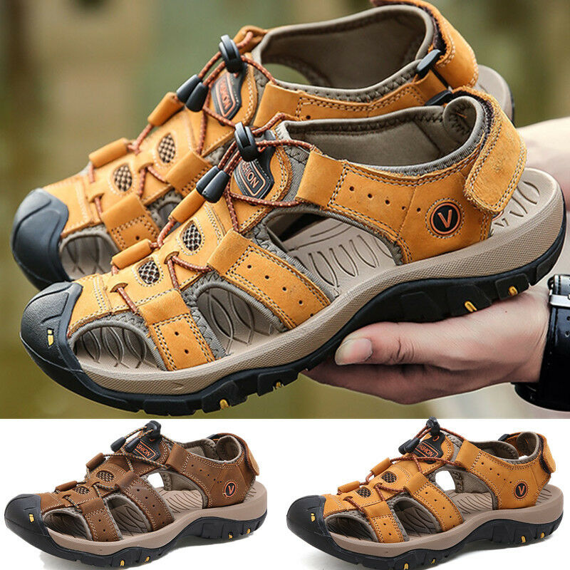 2889ca6d44f44 Details about Size 7-12 Mens Brown Leather Safety Closed Toe Outdoors Sandals  Casual Shoes