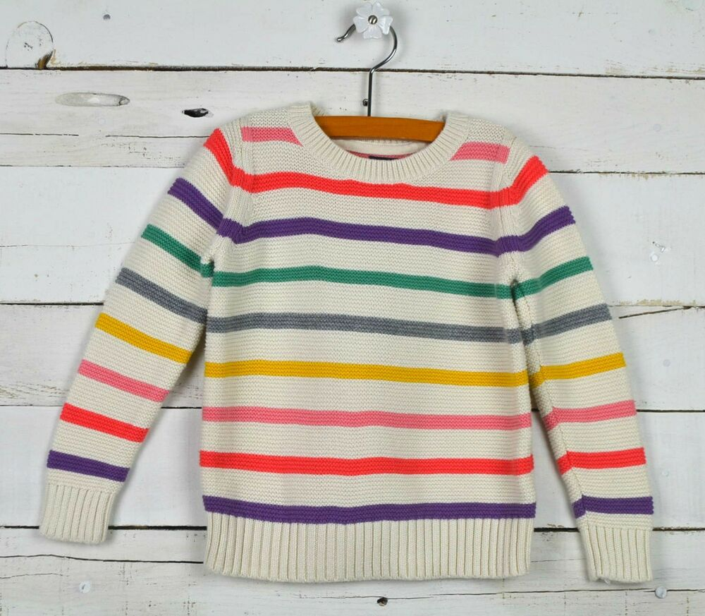 c197334ffa27 BABY GAP Sz 4y Ivory Rainbow Stripe Cable Knit Sweater