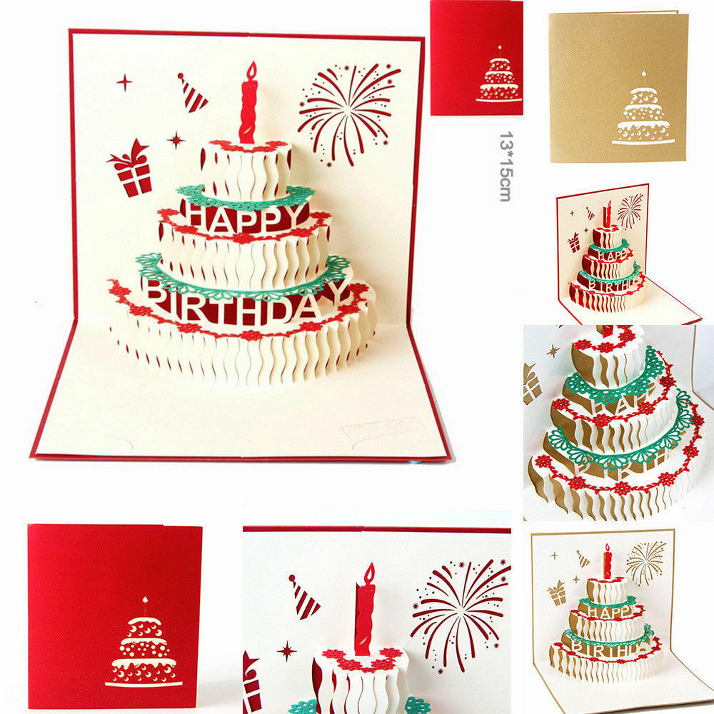 Details About 3D Up Birthday Cake Candles Greeting Card Hot Supplies Greetings Postcards